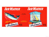 Fair Weather Brand Salmon Label - Seattle, WA Print