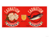 Carnation Brand Salmon Label - Seattle, WA Poster