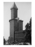 Seattle, WA - Smith Tower Building View and Street Scene Poster by  Lantern Press
