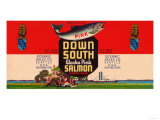Down South Brand Salmon Label - Seattle, WA Posters