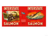 Interstate Brand Salmon Label - Seattle, WA Print