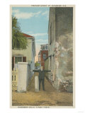 St. Augustine, FL - View of Treasury Street & Man Print