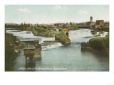 Spokane, WA - View of Middle Falls & River Posters