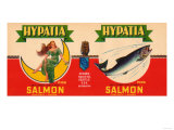 Hypatia Brand Salmon Label - Seattle, WA Posters