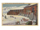 Sun Valley, ID - Ski Party at Lodge Sawtooth Mountains Print