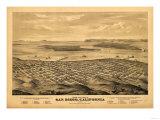 San Diego, California - Panoramic Map Posters par  Lantern Press