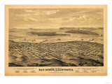 San Diego, California - Panoramic Map Posters