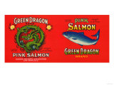 Green Dragon Brand Salmon Label - San Francisco, CA Posters by  Lantern Press