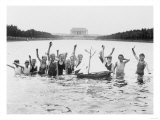 Boys Swimming in the Reflecting Pool Photograph - Washington, DC Posters by  Lantern Press