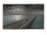 St. Petersburg, Florida - Night View of Causeway Poster