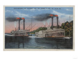 St. Louis, MO - View of Natchez & Robert E. Lee Poster by  Lantern Press