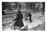 Children Having a Snowball Fight Photograph - Chillicothe, OH Poster by  Lantern Press