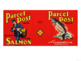 Parcel Post Brand Salmon Label - Seattle, WA Posters