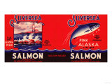 Silver Sea Brand Salmon Label - Seattle, WA Posters