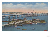 St. Augustine, FL - View of Bridge of Lions & Ocean Posters