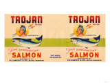 Trojan Brand Salmon Label - Seattle, WA Print