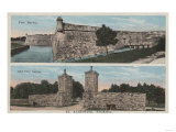 St. Augustine, FL - View of Ft. Marion & City Gates Print by  Lantern Press