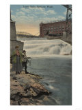 Spokane, WA - Couple Fishing on Lower Falls Poster
