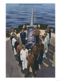 US Navy View - Gun Crew in Victory Formation Poster by  Lantern Press