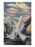 US Navy View - Naval Patrol Vessel Releases Depth Charge Print by  Lantern Press