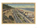 Santa Monica, CA - Beach Scene Along Palisades Posters