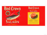 Red Crown Brand Salmon Label - Seattle, WA Poster