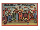 Greetings from the Colorful Southwest - Large Letter Scenes Print