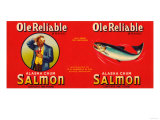 Ole Reliable Brand Salmon Label - Seattle, WA Posters