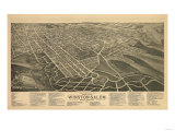 Winston-Salem, North Carolina - Panoramic Map Posters by  Lantern Press