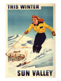 Sun Valley, Idaho - Red-headed Woman Smiling and Skiing Poster Posters