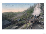Lumberjacks Carrying Logs over Gulch by Cable - Fort Bragg, CA Prints by  Lantern Press
