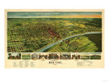 Waco, Texas - Panoramic Map Poster by  Lantern Press