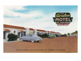 Exterior View of Avalon Motel - Fresno, CA Prints by  Lantern Press