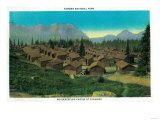 Housekeeping cabins at Paradise, Rainier Naional Park - Rainier National Park Prints by  Lantern Press