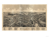 Springville, New York - Panoramic Map Print by  Lantern Press