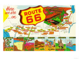 Map of Route 66 from Los Angeles to Chicago Art