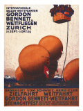Zurich, Switzerland - Gordon Bennett Hot-Air Balloon Race Poster Print