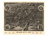 Saint Louis, Missouri - Panoramic Map Print by  Lantern Press