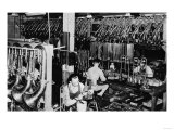 Interior View of a Brass Instrument Factory, Tubas and Trombone Posters van  Lantern Press