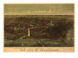 District of Columbia, Washington - Panoramic Map Posters