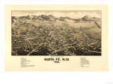 Santa Fe, New Mexico - Panoramic Map Poster
