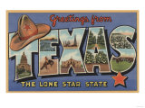 Texas - Greetings From The Lone Star State Print by  Lantern Press