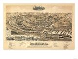 Waynesboro, Virginia - Panoramic Map Print