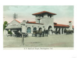 Exterior View of the Southern Pacific Depot - Burlingame, CA Prints by  Lantern Press