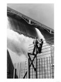 East Power House Construction Workers Look at Dam - Grand Coulee Dam, WA Prints by  Lantern Press
