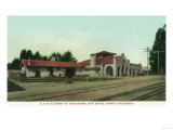 Exterior View of the Southern Pacific Railroad Depot - Burlingame, CA Art by  Lantern Press