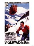 Ranskan rautateiden SNCF:n köysiratajuliste, St. Gervais-Les-Bains, Ranska Poster tekijänä  Lantern Press