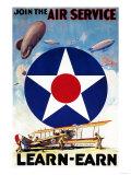Lantern Press - USA - Join the Air Service Learn-Earn WWI Propaganda Poster Plakát