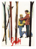 Sun Valley, Idaho - Skis Standing Up in Snow by Couple Poster Poster by  Lantern Press