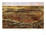 Saint Louis, Missouri - Panoramic Map Poster